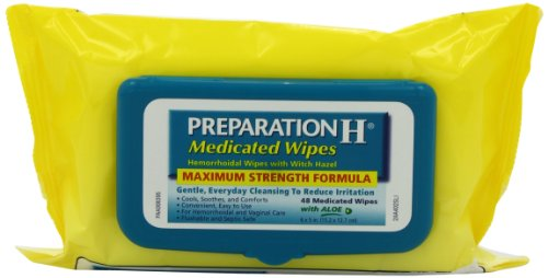 Preparation H Medicated Hemorrhoidal Wipes with Witch Hazel and Aloe, 48-Count Refill Packages (Pack of 4), Health Care Stuffs