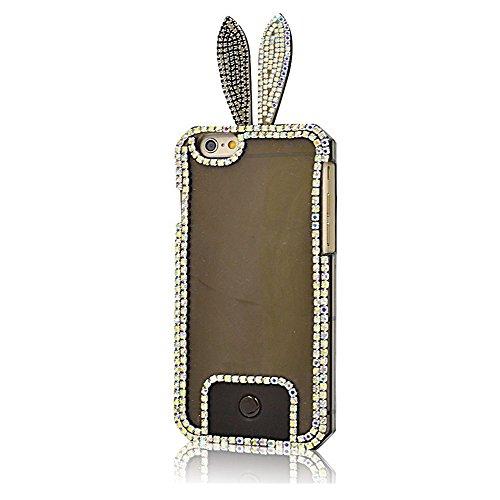 EVTECH (TM) pour iPhone 4 Smartphone (8,9 cm (3,5 Zoll) Bunny oreille de lapin 3D Case main Crystal Fashion strass Bling Cover TPU Soft Case Effacer (100% fait main)