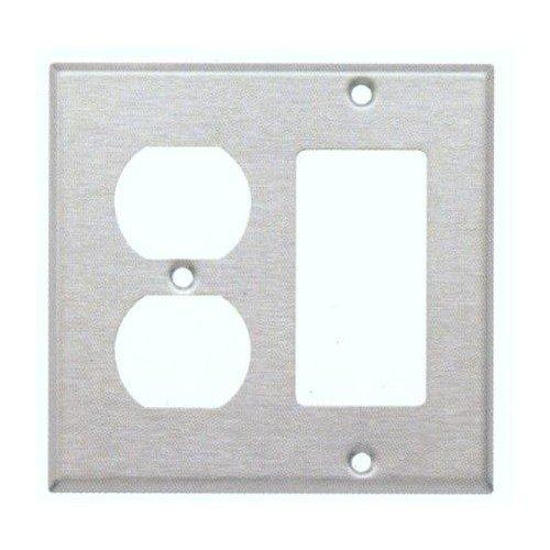 Morris 83861 304 Wall Plate, 2 Gang, 1 Duplex, 1 Decorative Gang, Stainless Steel