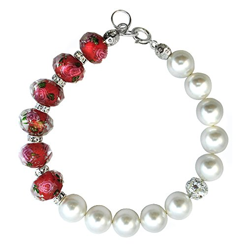 Bracelet Made with Red Faceted Lampwork Glass and Swarovski Crystal Elements 7,8,9