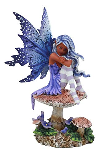 Ebros Amy Brown Art Gothic Manga Violet Tribal Ebony Fairy Collectible Statue As Fantasy Faerie Magic Sculpture Or Desk Shelf Centerpiece Figurine Or Mini Fairy Garden Accessory 6.5 Tall
