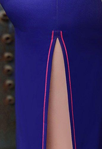 Schlitz Blumen Polyester Lang Etuikleid Arme ACVIP Damen Chinesische Mustern Kurze 75SXqYZ
