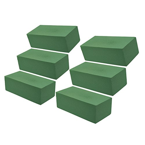 Floral Foam Block - 6-Pack Wet Foam Brick, Green Foam Flower Arrangement Supplies for Florist, Home Craft, 9 x 4 x 3 inches