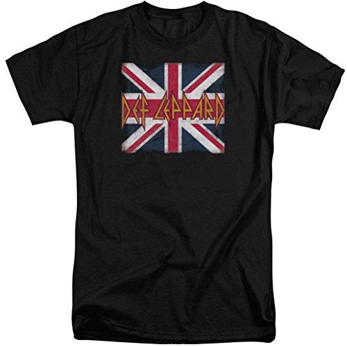 A&E Designs Def Leppard Union Jack Logo Tall T-Shirt, Black,