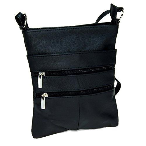 Black Genuine Leather Crossover Body ()