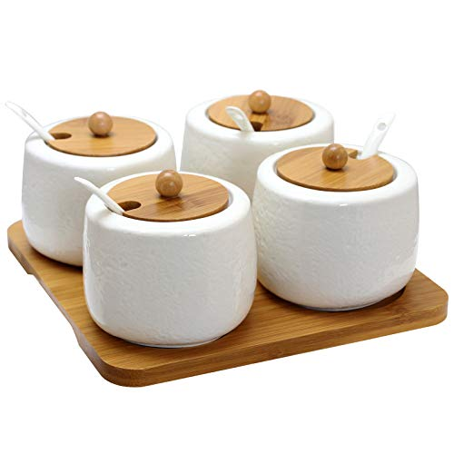 Elama EL-531 Ceramic Spice, Jam and Salsa Jars with Bamboo Lids & Serving Spoons, 4pc, White