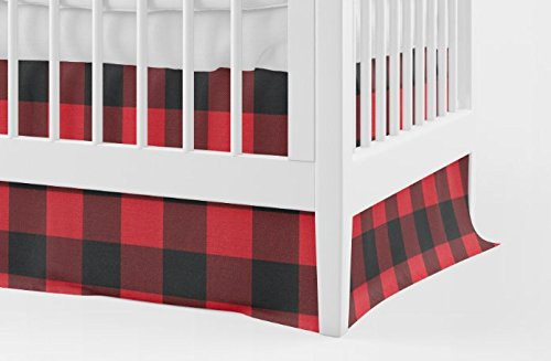 Crib Skirt in Red and Black Buffalo Plaid by Twig + Bird - Woodland Crib Bedding- Crib skirt - Handmade in The USA