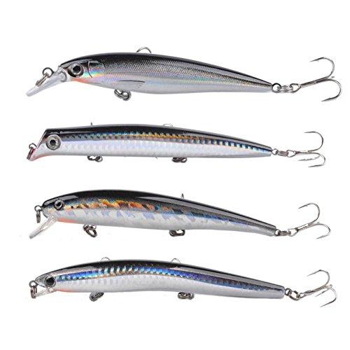 Fishing Plug - Dr.Fish Assorted 4 Fishing Lure Lot Popper Plugs Jerkbait Crankbait 5