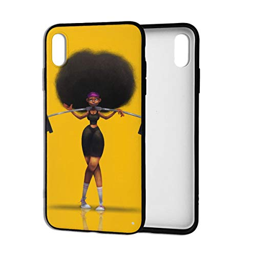 Afro Hair Girl African Woman Yellow Eccentric iPhone Xs Max Case Theme Cover Decorative Mobile Accessories Ultra Thin Lightweight Shell Pattern Printed Ornament Decorations