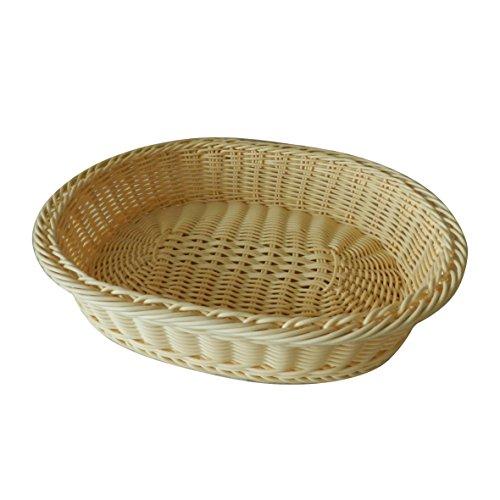 CVHOMEDECO. Oval Imitation Rattan Bread Basket Fruit Display Basket Food Serving Basket Resin Wicker Supermarket Showcase.Pale Yellow. 13-3/4'' X 11'' X 3''H by CVHOMEDECO.