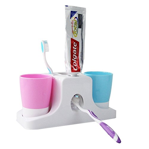 RC Kids Toothpaste Dispenser & Toothbrush Holders Set Stand & 2 Tumbler Tooth Mugs, Press to Past Toothpaste Squeezer, Barthroom Organizer
