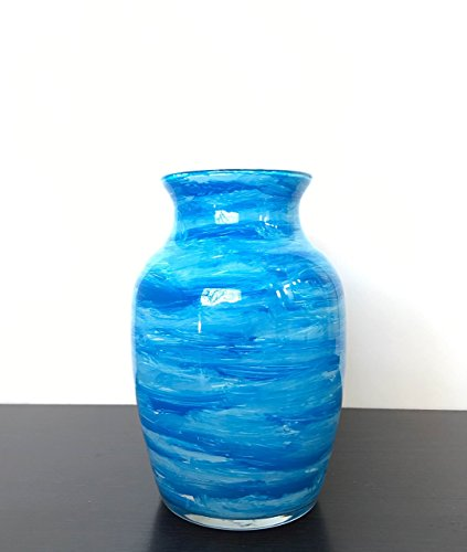 Blue Vase White Inside Hand Painted Glass Waterproof