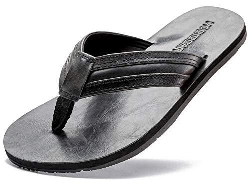 GUBARUN Mens Flip Flop Sandals Thong Indoor and Outdoor Beach Slippers(Black 12.5)