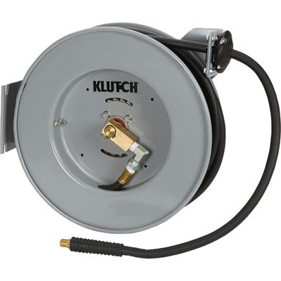 Klutch Compact Auto Rewind Air Hose Reel - With 3/8in. x 50ft. Hybrid Hose, Max. 300 PSI