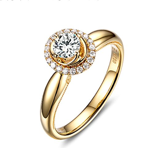 AnazoZ 18K(Au750) Gold 1 Carat Real Diamond Engagement Rings for Women, D-E, VS1 Size 5