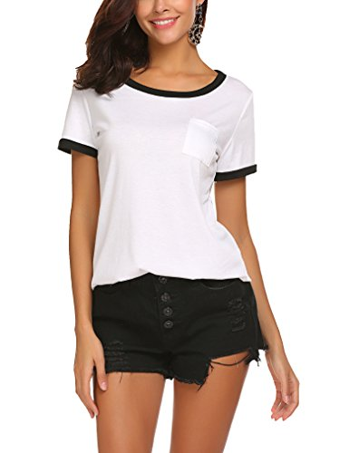 Qearal Women's Summer Basic Short Sleeve Tops Casual Loose Cotton T-Shirts with Pocket (L, ()