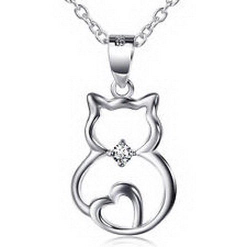 jacob alex #40633 925 Sterling Silver CZ Clear White Cat heart Pendant Necklace Lady's jewelry by jacob alex