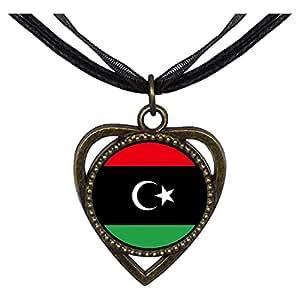 Chicforest Bronze Retro Style Libyan Arab Jamahiriya flag Heart Shaped Pendant