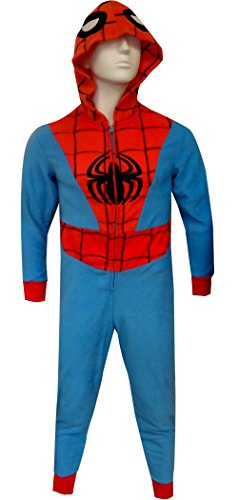 [Spiderman Hooded Fleece Onesie Slim Cut Pajama for men (3X/4X)] (Blue Spiderman Suit)