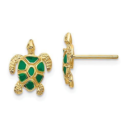 - 14k Yellow Gold Green Enameled Sea Turtle Post Earrings 11x9 mm