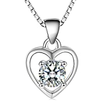 LOVAV Womens Crystal Necklace 925 Silver, Valentines Day Gift with Heart Pendant