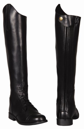 Tuffrider Women'S Starter Back Zip Field Boots In Synthetic Leather, Color: Black, Size: 9