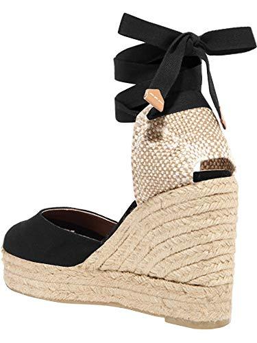 - Womens Closed Toe Lace Up Espadrille Platform Wedges Sandals Shoes Canvas Ankle Tie Strap Dress Shoes Black