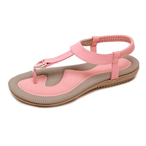 ZOEREA Ladies Sandals Peep Toe T-Strap Bohemia Women Sandals Flats Flip Flops Beach Holiday (7 B(M) US, Clasp Pink)