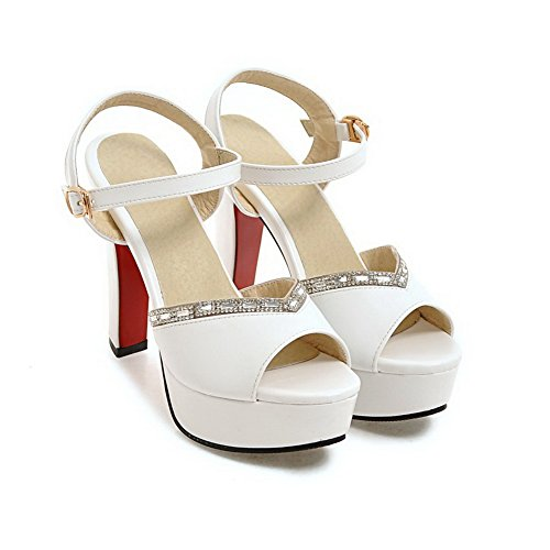 AdeeSu Womens Peep-Toe Peep-Toe Cold Lining Urethane Sandals SLC03813 White 122zdAK0f