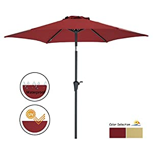 Patio Watcher Outdoor Market Patio Umbrella, 7-1/2 Ft Table Umbrella with Push Button Tilt and Crank,Red