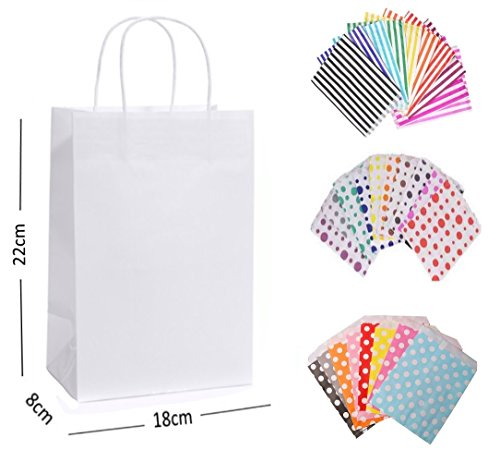 30 x WHITE PARTY PAPER GIFT BAGS – EACH WITH A MATCHING CANDY STRIPE SWEET BAG