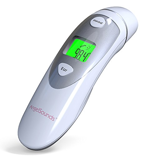 Medical Thermometer, Angelsounds Ear Forehead Infrared Thermometer Digital Display Accurate Instant Read Fever Measurement Home Use for Baby and Adult CE FDA Approved(Sliver)