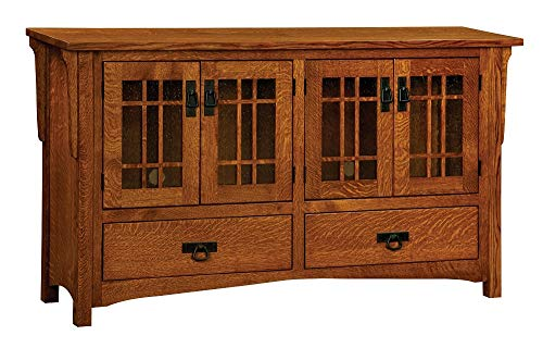 """Amish Mission 60"""" Solid Wood TV Stand, Stained Michael"""