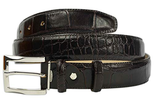Pasquale Cutarelli Mens Crocodile Pattern Italian Leather Belt (7167) Brown 38 ()