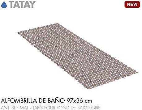 54 x 54 cm TATAY 5510100 Alfombra antideslizante para ducha o ba/ñera con dise/ño de peces azul transl/úcido