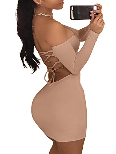 TOB Women's Sexy Off Shoulder Backless Lace Up Club Bodycon Mini Dress,Khaki,X-Large (Sexy Khaki Club Dress)