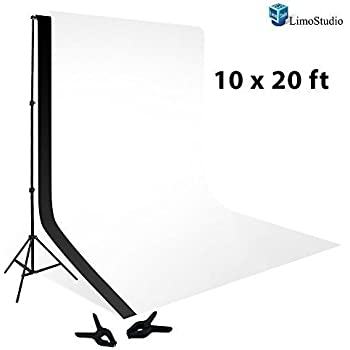 LimoStudio 10 x 20 Foot Muslin Backdrop Background White Black 100 Percent with 10 x 12 Foot Backdrop Support Kit Combo, AGG414V2