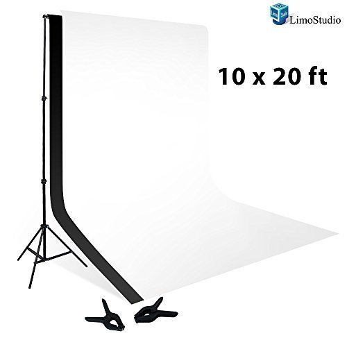 LimoStudio 10 x 20 Foot Muslin Backdrop Background White Black 100 Percent with 10 x 12 Foot Backdrop Support Kit Combo, AGG414V2 (Background 12x12' Paper)