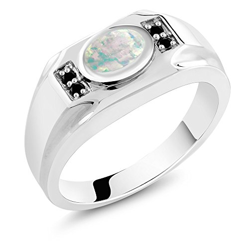 - Gem Stone King 1.18 Ct Oval White Simulated Opal Black Diamond 925 Sterling Silver Men's Ring (Size 10)