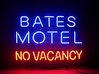 Aoos Bates Motel No Vacancy Halloween Real Neon Sign True