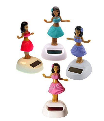 Set of 4 Hawaiian ALOLA Dancing Hula Girl 1 Blue 1 Pink 1 Yellow 1 Purple Solar
