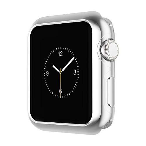 Coobes Compatible with Apple Watch Case Series 4 44mm 40mm, Ultra-Thin TPU Plating Bumper Shiny Lightweight Shockproof Protector Cover Slim Shell Frame Compatible iWatch (Silver, 44mm) ()
