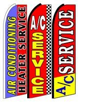 Air Conditioning Service King Size Swooper Flag Sign with Pole and Full Assembly Pack of 3