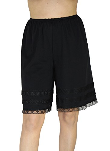 (Underworks Cotton Knit Snip-A-Length Pettipants Culotte Slip Bloomers Split Skirt X-Large-Black)