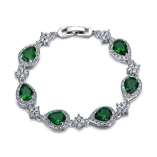 EVER FAITH Women's Glamour CZ Wedding Waterdrop Floral Tennis Bracelet Green Silver-Tone