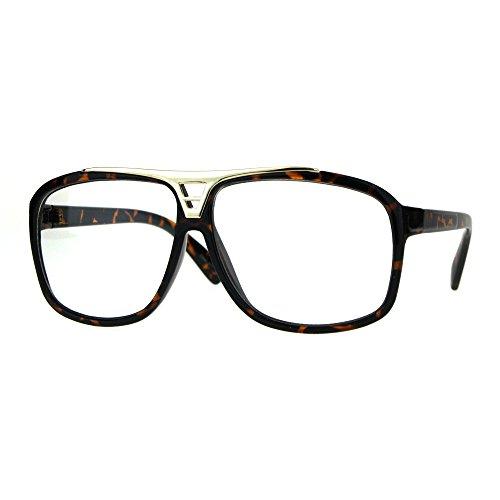 Mens Classic 80s Geeky Nerd Plastic Racer Pilots Eye Glasses Tortoise Gold (58mm Pilots)