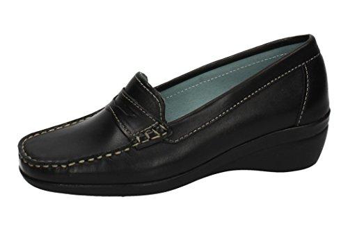 713021 Negro Mujer De 01 Horas 48 Zapatos Mocasín Mocasines Piel 6Aq5xwF
