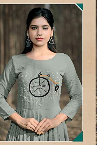 Indian Readymade Women Partywear Facioun Traditonal Ethnic Kurti Grey Da Designer Z7qpA