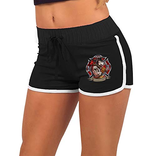 Fire Dept Maltese Cross Muscle Dalmation Dog Firefighter Women's Running Yoga Gym Comfy Fitted Sexy Low Waist Hot Pants Black ()