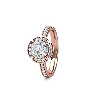 18K Rose Gold 4 Prong Setting Side Stone Halo Engagement Ring Size - 5.5